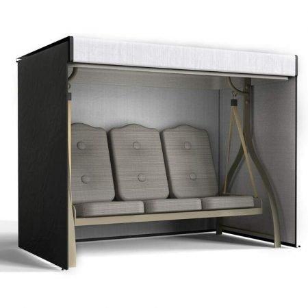 3 Seater Garden Swing Cover Waterproof Heavy Duty Hammock Cover Windproof Swing Sunshield Covers 220*125*170cm (black)