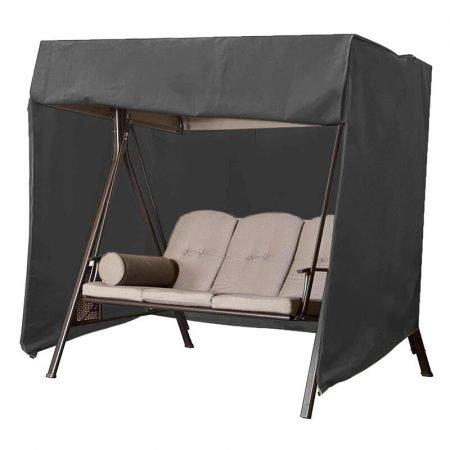 Garden Swing Cover, Waterproof, Windproof, Anti-UV, Proof 600D Oxford Fabric Large Outdoor Garden Hammock Cover with Zips (190*71*117CM) -Black